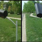 Mailbox support can swing freely 360 degrees in both directions. Minimizes snowplow and vandal damage to your mailbox.